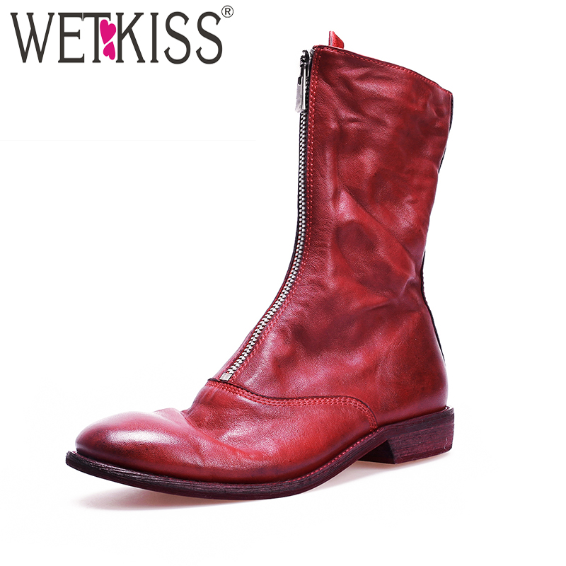 WETKISS Genuine Leather Boots Red Footwear Round Toe Front zipper Low heel Martin boot Women Thick Heels Cowboy 2019 SpringWETKISS Genuine Leather Boots Red Footwear Round Toe Front zipper Low heel Martin boot Women Thick Heels Cowboy 2019 Spring