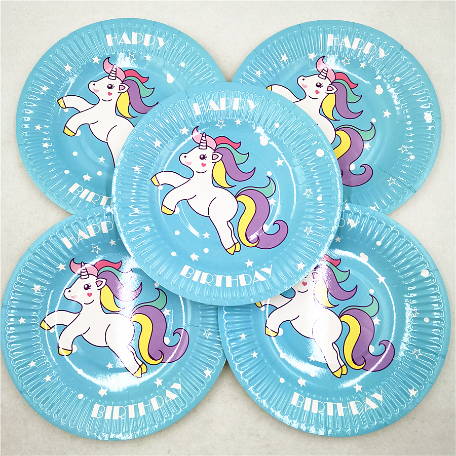 10pc set Unicorn Paper Plates kids Birthday Party Supplies Disposable Tableware Wedding Party Favors Decoration Cake Dish Plate in Disposable Party Tableware from Home Garden