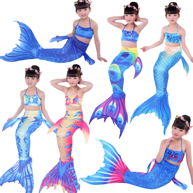 3PCS 11 Colors Girls Bathing Suit Swimming Mermaid Tail with Bra Little Children Ariel Mermaid Cosplay Costume Swimsuits 5Y-12Y