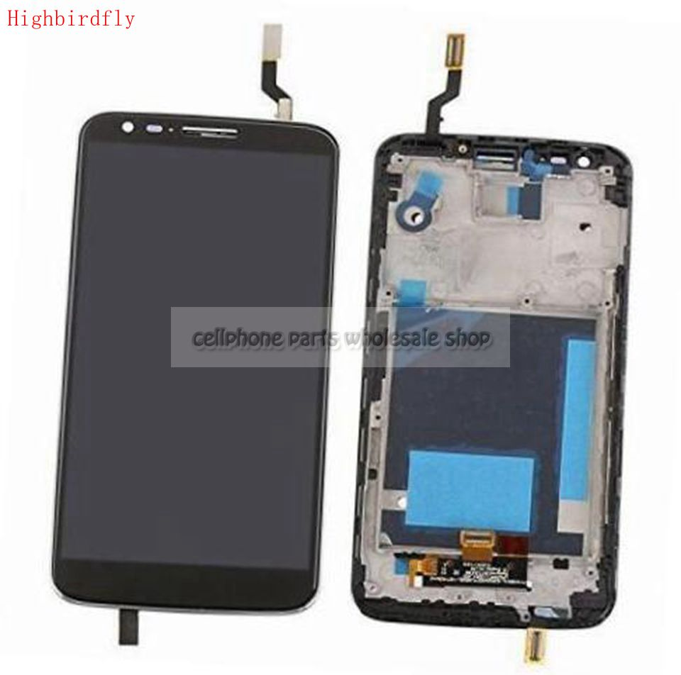 Highbirdfly For Lg G2 D800 D801 F320 Lcd Screen Display WIth Touch Glass DIgitizer+Frame Assembly Replacement Parts