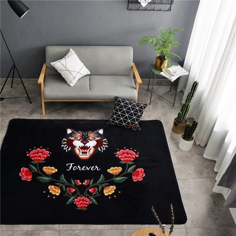 Mode moderne Chic tête de tigre fleurs Floral grande taille salon chambre salon décoratif tapis tapis tapis tapis noir