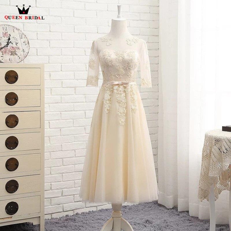QUEEN BRIDAL A-line Tea Length A-line Half Sleeve Tulle Lace Formal Evening Dresses Short Party Dress Women Gown Elegant DR02M a-line