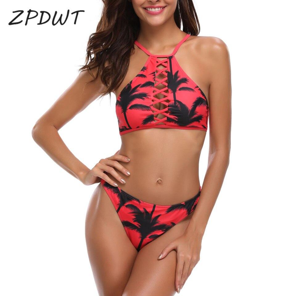 b7952ad40b14f ZPDWT Sexy Bikini Set Women High Neck Swimwear Women Swim Bathing Suit Women  Bandage Swimming Brazilian