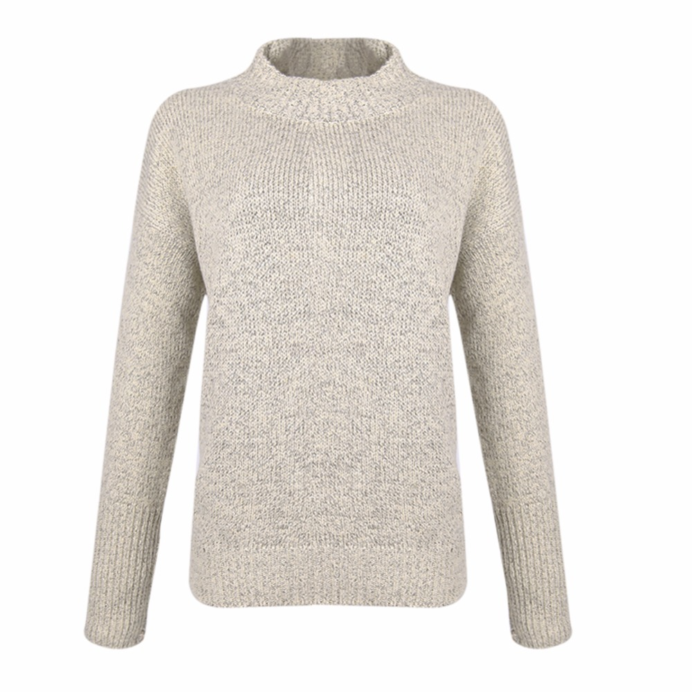 Lisli Women's Sweater Gray Loose High Neck Chunky Cable Long ...