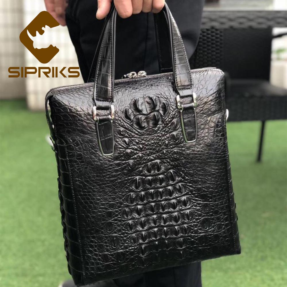 SIPRIKS Luxury Imported Real Crocodile Skin Leather Briefcases Boss Men Business Office Handbag Black Brown Shoulder Bags