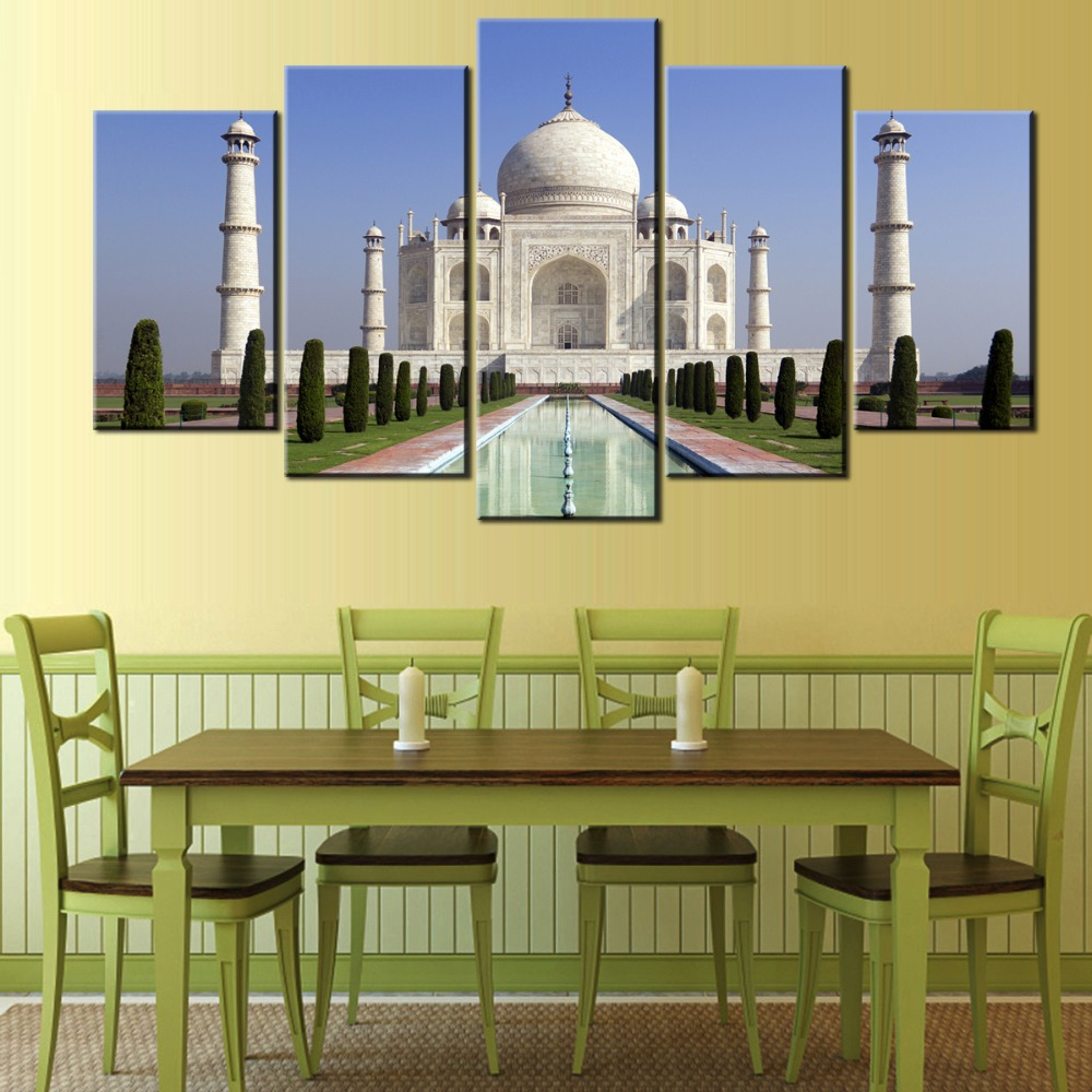 5 pieces Wall Art Picture HD taj mahal agra indian for living room ...