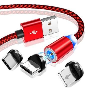 2 M LED USB C magnétique pour iPhone Xs Max 8 7 6 & USB type C câble & Micro USB C capable pour Samsung Xiaomi Huawei USB C Microusb