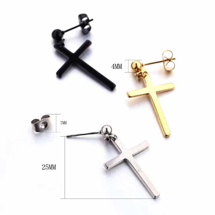Серьги унисекс в виде креста подвеска для мужчин и женщин модные