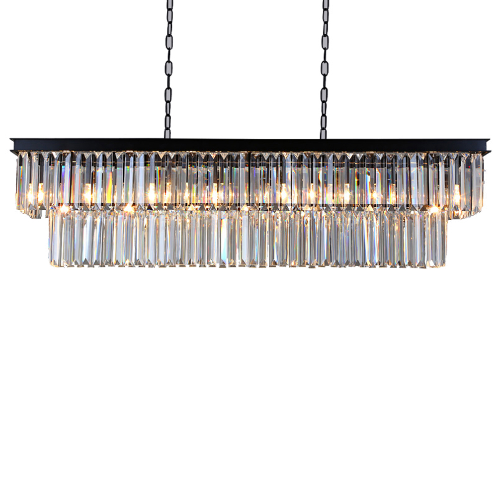 American Country Crystal Chandelier Living Room Restaurant Bar Counter Cafe Lighting Nordic Bar Rectangular Chandelier led lamps