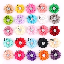 Yundfly 16 20pcs Chic Mini Ribbon Flowers With Clear Star Button for Diy Headband Clips Hair Accessories Decorations