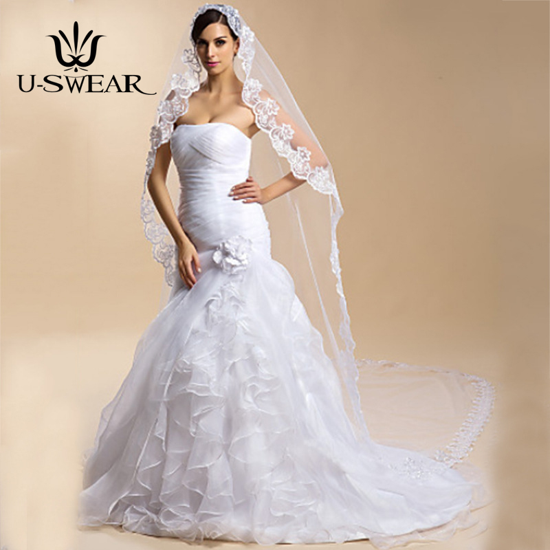 U-SWEAR One-tier Lace Applique Wedding Veil Cathedral Veils 300 CM Lace Tulle Sheath/ Column Trumpet/ Mermaid Bridal Veils