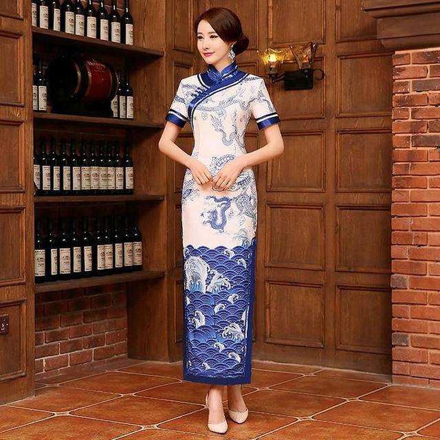 2016 New Long Silk Cheongsam Dress Blue and White Porcelain Modern Qipao Dress Chinese Traditional Dress Vestido De Festa Qi Pao