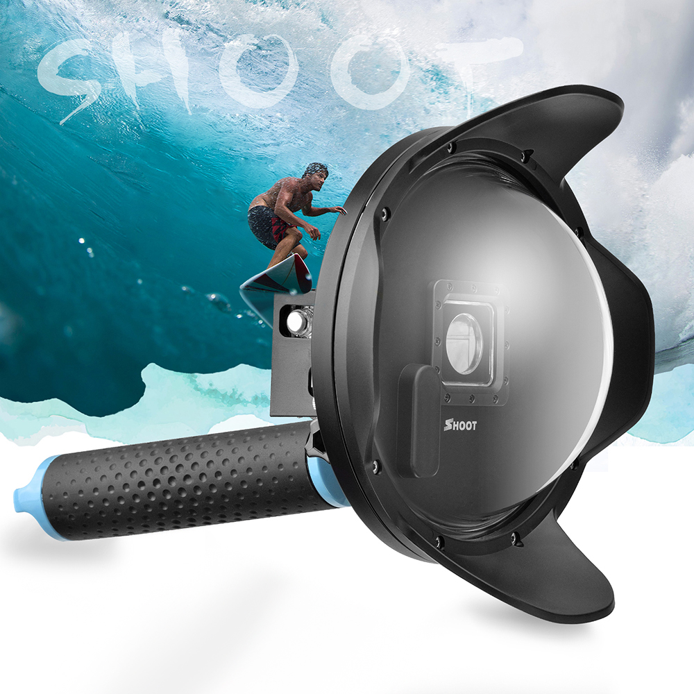 SHOOT 6 LCD Underwater Dome Port Lens Dome Cover Waterproof Housing Case Anti-fog Inserts for GoPro Hero 4 3+ Camera Accessory shoot underwater camera dome port lens hood extra lcd storage gopro hero 3 4