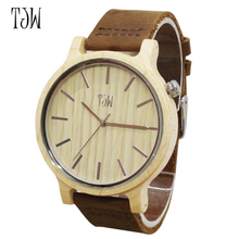 2017 Men's Bamboo Wooden Wristwatches With Genuine Cowhide Leather Band Luxury Wood Watches for Men as Gifts Item