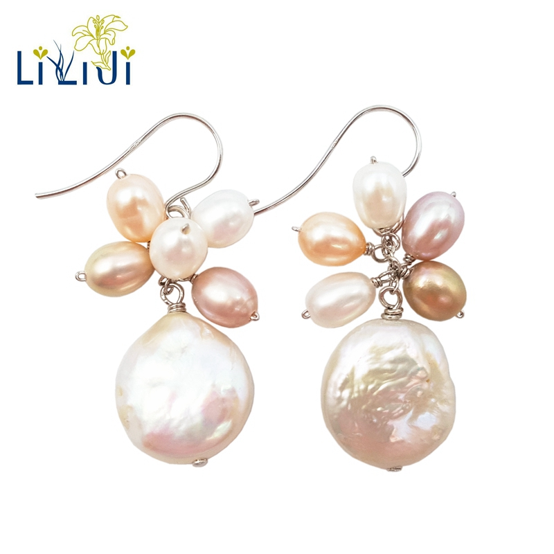 Lii Ji Real Freshwater Pearl 925 Sterling Silver Drop Earrings Delicate Jewelry For Women pair of retro style tai ji color block drop earrings for women
