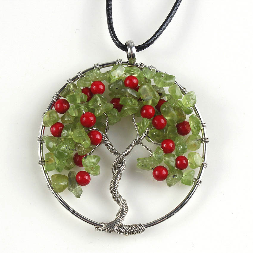 Kraft-beads Silver Plated Cherry Red Beads Pendant Natural Olivine - Fashion Jewelry - Photo 1