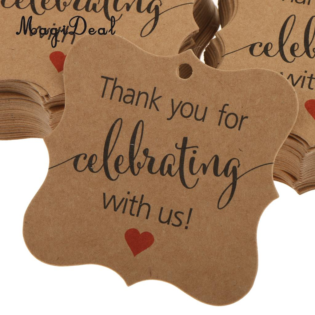 magideal 100pcs thank you for celebrating with us gift tags hanging labels wedding birthday new year baby shower party favor in party favors from home