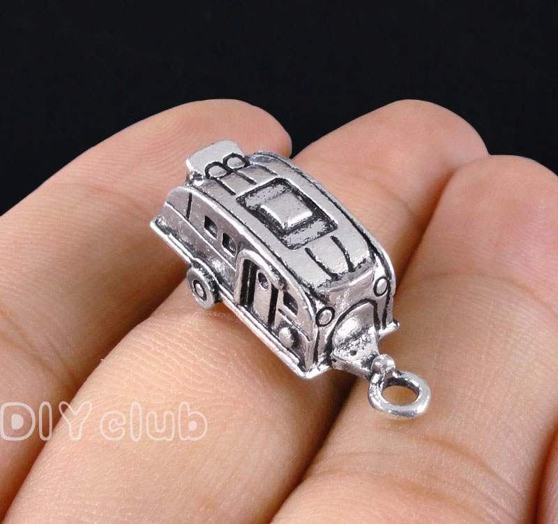25pcs-Camper Trailer charms, Antique Silver / Bronze Travel Trailers Charm pendants 27x1 ...