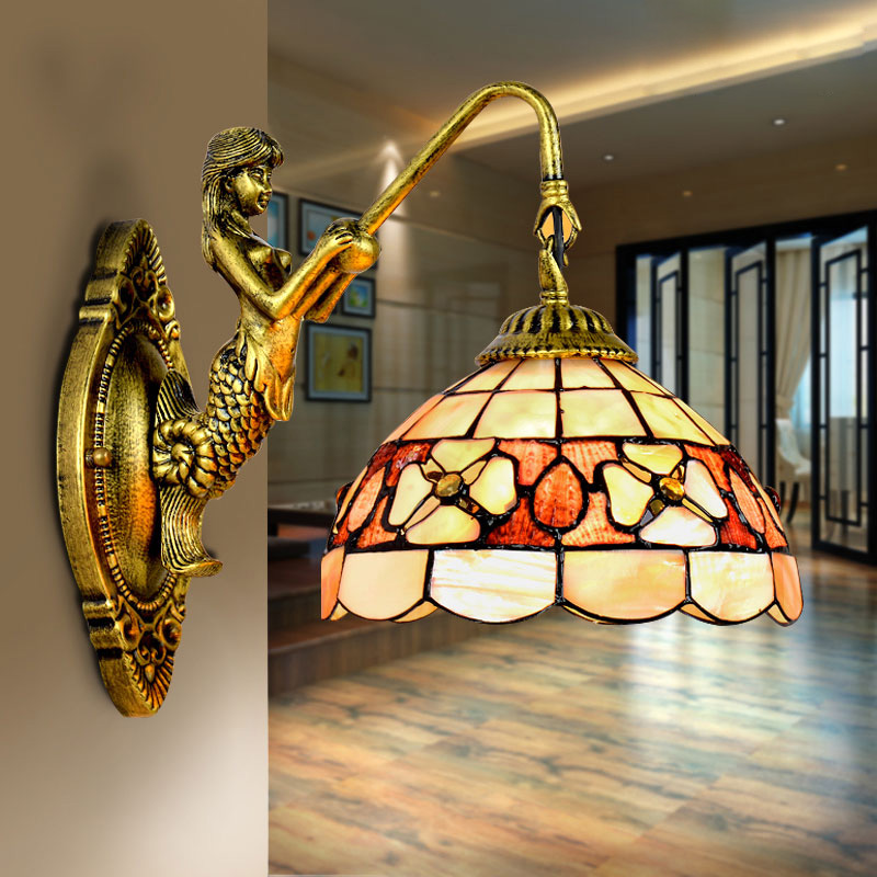 Mediterranean LED Tiffanylampe,Tiffany Mermaid Wall Lamp AC 110/220V E27 16cm 20cm Shell Wall Lamps for Home Corridor Bedroom tiffany baroque sunflower stained glass iron mermaid wall lamp indoor bedside lamps wall lights for home ac 110v 220v e27