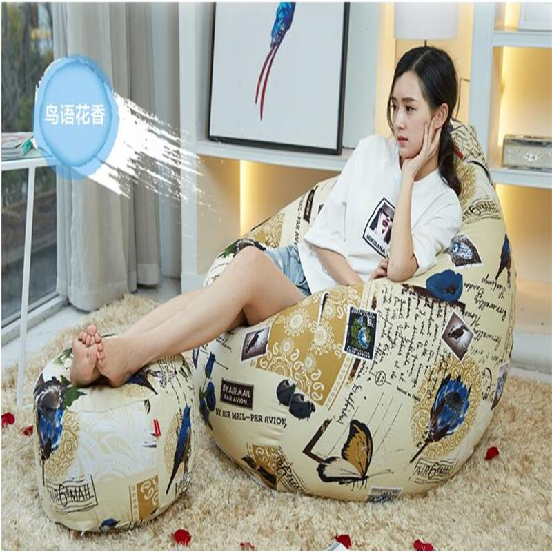 Ywxuege leisure tatami Lazy sofa  Wu language floral bean bag chair leisure with footstool large size( filler included lazy sofa bean bag with pedal creative single sofa bedroom living room lazy stool tatami