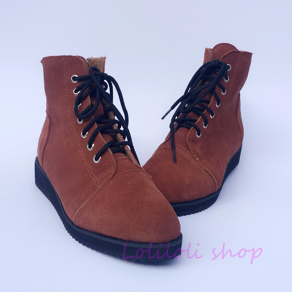 Princess sweet lolita shoes loliloli yoyo Japanese design custom  camel suede genuine leather lace-up  flat short boots  yd001Princess sweet lolita shoes loliloli yoyo Japanese design custom  camel suede genuine leather lace-up  flat short boots  yd001