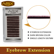 New Arrival 2016 Fashion 1pack Dark Brown color Eyebrow Extension Individual Mink Eyebrows Artificial Fake False Eyebrows