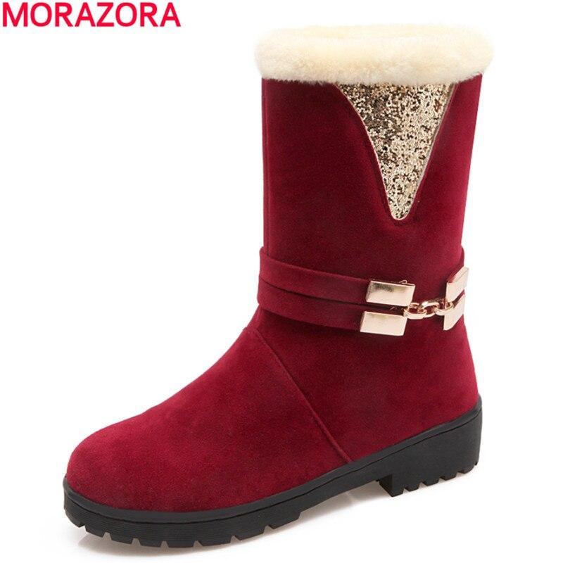 ed4365c7f MORAZORA Inverno manter moda quente botas de neve mulher dedo do pé redondo  sapatos de alta qualidade flock sólidos botas fivela no tornozelo para as  ...
