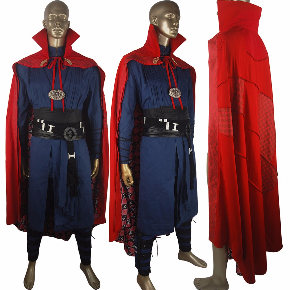 Movie Doctor Strange Costume Outfit Uniform Cape Robe Boots Waistband Deluxe Halloween Cosplay Costume