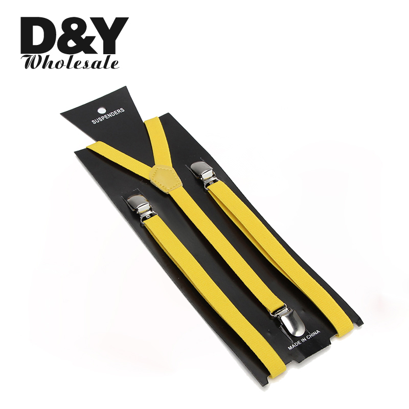 Classic Fashion Men Women Yellow Suspender Clip-on Elastic Braces Slim Y-back Suspenders/gallus 1.5 Cm Polyester Suspender