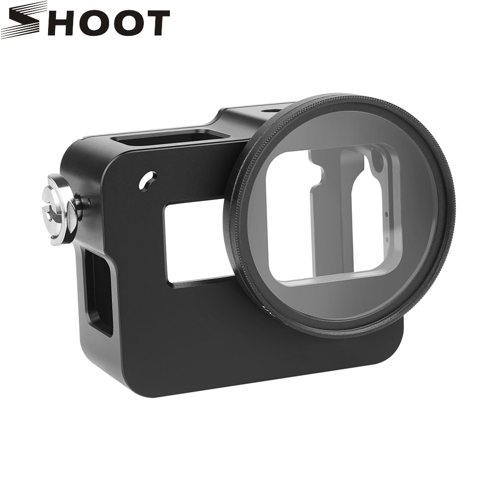 цена на SHOOT CNC Aluminum Alloy Protective Case for GoPro Hero 5 Black Camera with 52mm UV Filter Backdoor Housing Skeleton Accessory