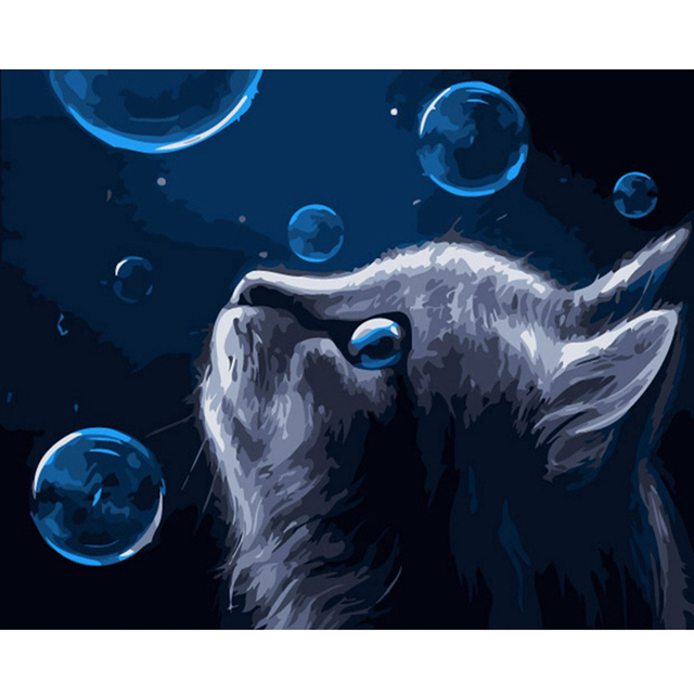 artsailing pictures by numbers on canvas bubble blue cat animal