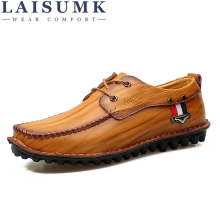 LAISUMK Brand Leather Fashion Men Shoes Handmade Summer Spring Autumn High Quality Oxfords