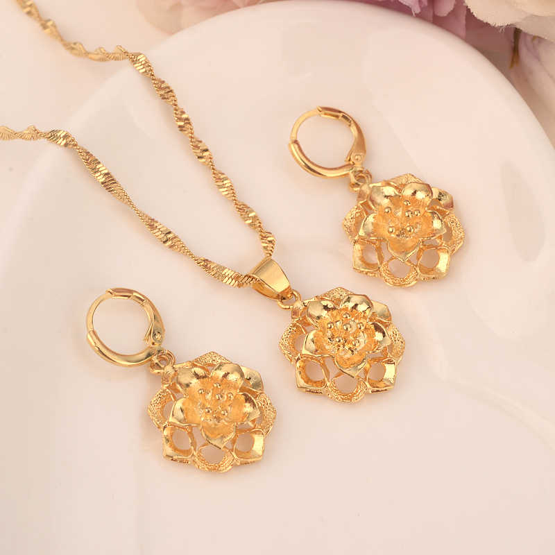 Gold flower Ethiopian Jewelry Sets  Eritrea Habesha Africa bridals Wedding jewelry  Gift necklace pendnat earrings diy charms