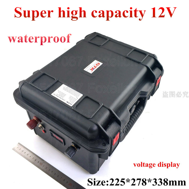 Super high capacity 12V 200Ah 250Ah 300Ah Lithium li-ion lipo battery for power boat motor solar wind energy UPS + 10A charger