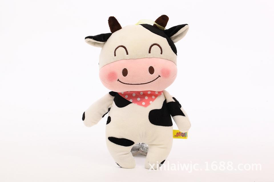 small size cute cartoon cow toy lovely font b plush b font cow doll with scarf