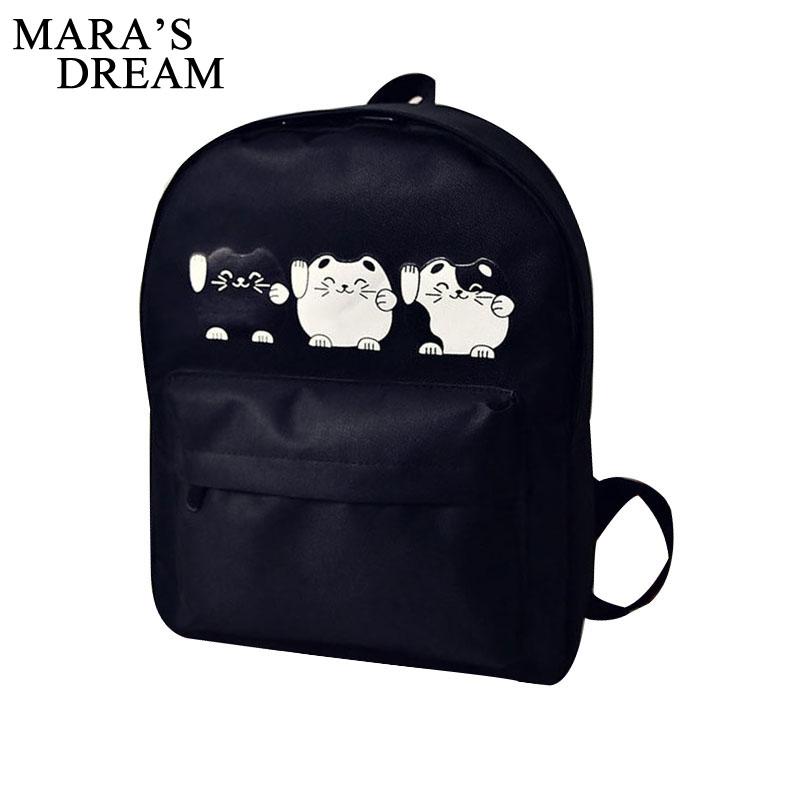 Mara's Dream Cat Printing Backpack Women Canvas Cartoon Shoulder Bag Schoolbag Backpacks For Teenage Girls Travel Bolsa Mochila zooler women s backpack eyes sequined designer black cartoon eyes backpacks travel bag cute shell backpacks for teenager girls