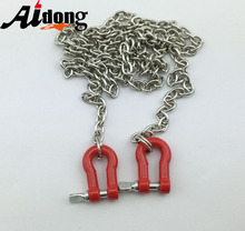 1/10 Scale Type U Metal Chain With Hooks Red Long For RC Crawler D90 Tamiya SCX10 AX10 Truck Accessories