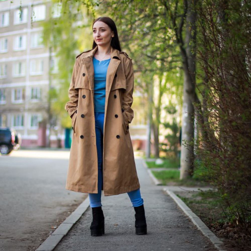 Trench   women long dust coat double-breasted European and American wind coat