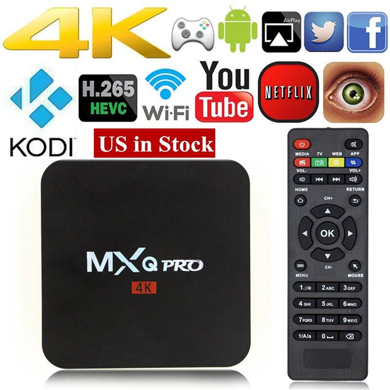 MXQ pro Android 7.1 TV BOX Sbloccato Android Fully Loaded Kodi 17.4 Quad Core 1 + 8 GB Streaming Media Player Set-top box PK X96 X92