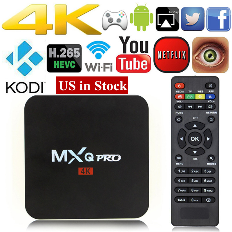 MXQ pro Android 7.1 TV BOX Sbloccato Android Fully Loaded Kodi 17.4 Quad Core 1 + 8 GB Streaming Media Player Set-top box PK X96 X92