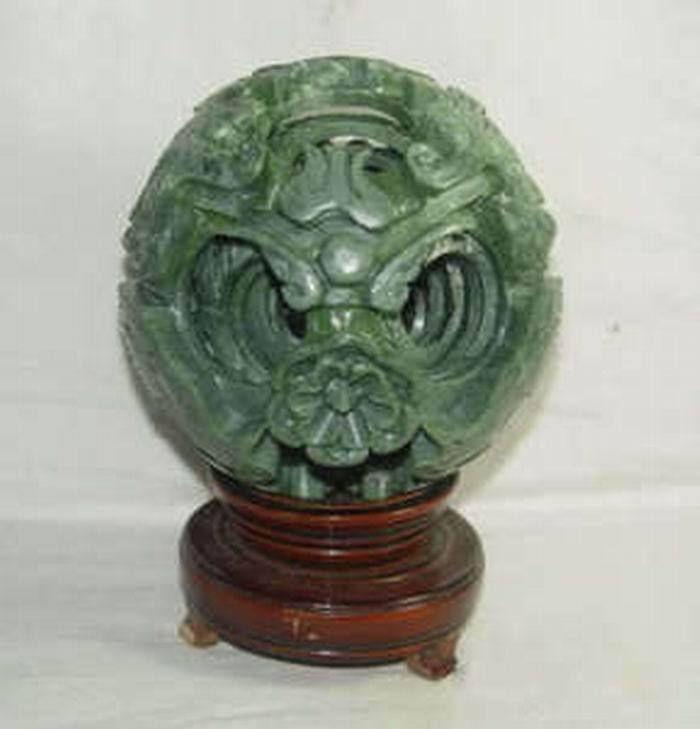 Feng shui dragon base en bois magique, sculpture de jade vert naturel pur de chine, fine boule de jade accessoires pour la maison livraison gratuite