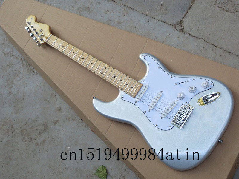 buy free shipping new st stratocaster 6 string silver electric guitar in stock. Black Bedroom Furniture Sets. Home Design Ideas