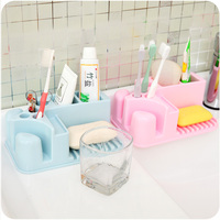 Korean Creative Plastic Toothbrush Holder Toothpaste Stand Rack Bracket Container Bathroom Accessories Family Set