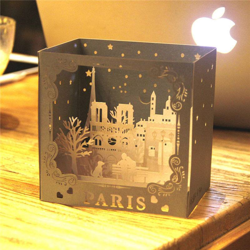50pcs City view paris 3D pop up greeting card laser cutting Landmark building dies envelope hollow carved kirigami ZA6495