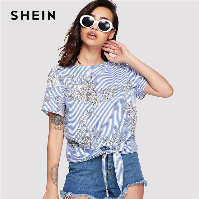 167658a171 SHEIN Multicolor Elegant Knot Front Floral and Striped Round Neck Short  Sleeve Blouse Summer Women Weekend Casual Shirt Top