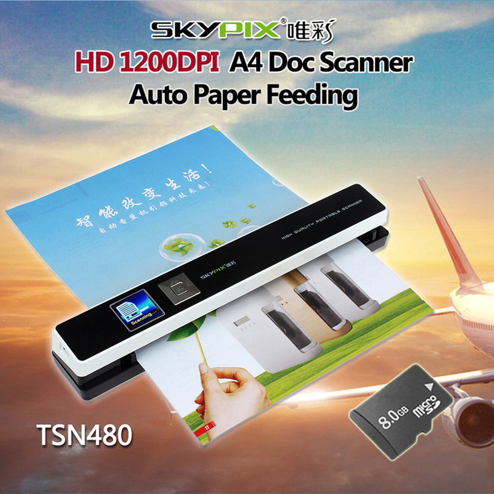 Skypix TSN480 Portable HD 1200DPI A4 Document Scanner Auto Paper Feeding Image JPG PDF Paper Scanner A4 Size W/8GB Memory Card l1000 portable hd 10mp 3672x2856 usb camera photo image document book a3 a4 scanner visual presenter high speed ocr scanner a3