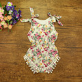 Free shipping Ruffled baby girls Cotton Sunsuit flower Rompers Kids bubble palysuit print Jumpsuit Cotton Romper with balls