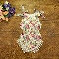 Frete grátis Babados bebê meninas Algodão flor Sunsuit Rompers Crianças bolha palysuit imprimir Jumpsuit Romper Algodão com bolas