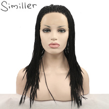 Similler Africa America Long Braided Synthetic Lace Front Wigs For Black Women Natural Black Color 20/22/24/36 Inches