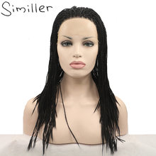 Similler Africa America Long Braided Synthetic Lace Front Wigs For Women Natural Black Color 20/22/24/36 Inches(China)